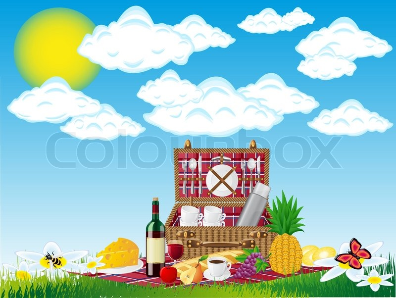 Basket For A Picnic With Tableware And Stock Vector