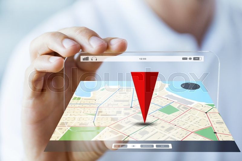 Business, technology, navigation, location and people concept - close up of male hand holding and showing transparent smartphone with gps navigator map, stock photo