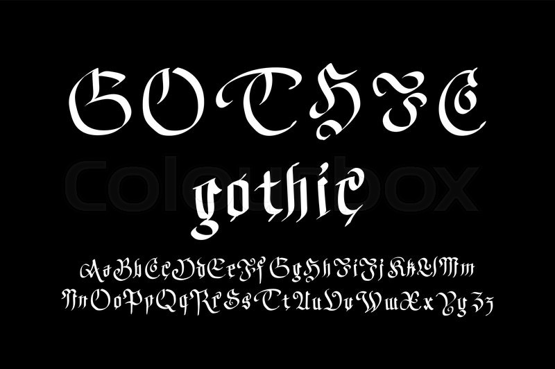Modern Gothic Style Font Letters Art Vector