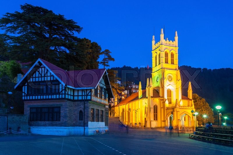 Christ Church in Shimla is the second oldest church in North India, stock photo