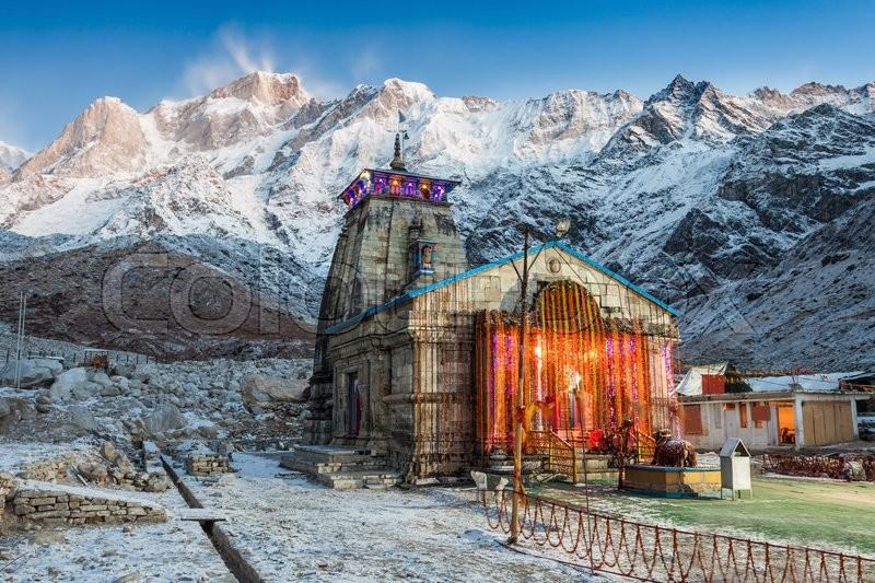 Kedarnath Temple before sunrise, it is a Hindu temple ...