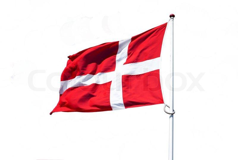 Stock foto af isoleret dansk flag på pole