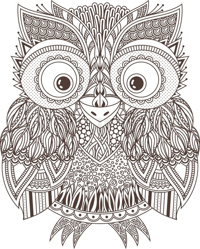 unique coloring pages owl ornate - photo#26