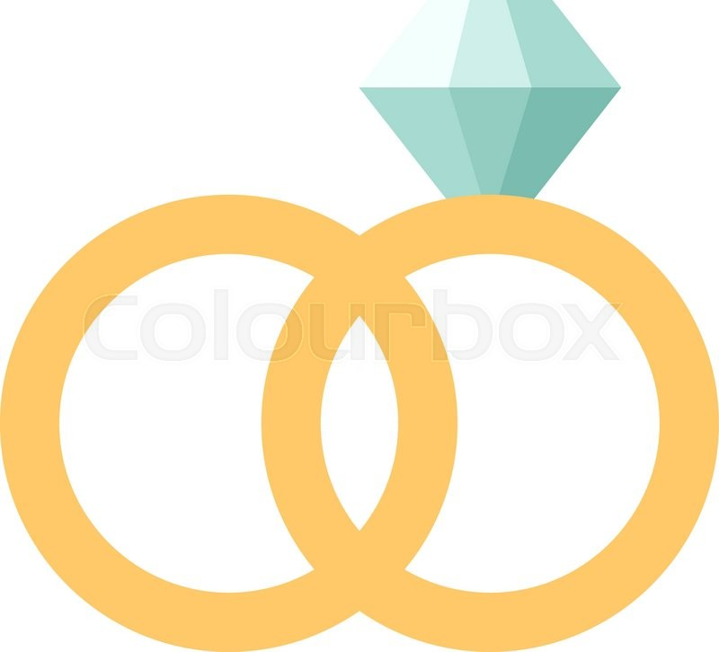 Vector wedding rings icon flat design Wedding rings couple Wedding