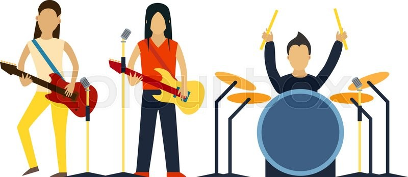 Music band with instruments vector illustration. Band of ...