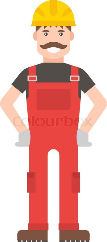 Cartoon Vector Worker Character Illustration Smart Worker