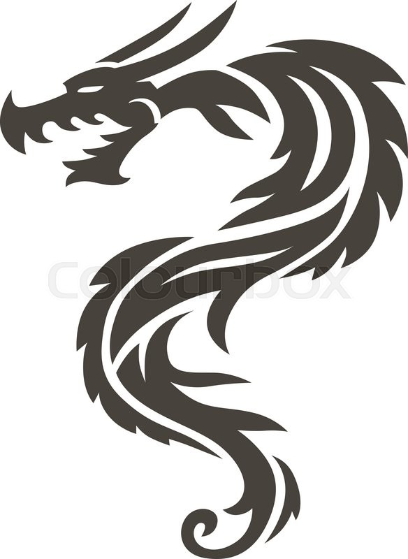 dragon tattoo white background vector illustration vector