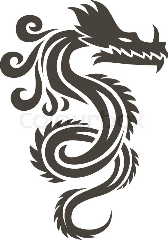 Chinese dragon on white background vector illustration. Vector Chinese  Calligraphy for the tattoo. Chinese dragon symbol. China symbol dragon  silhouette.