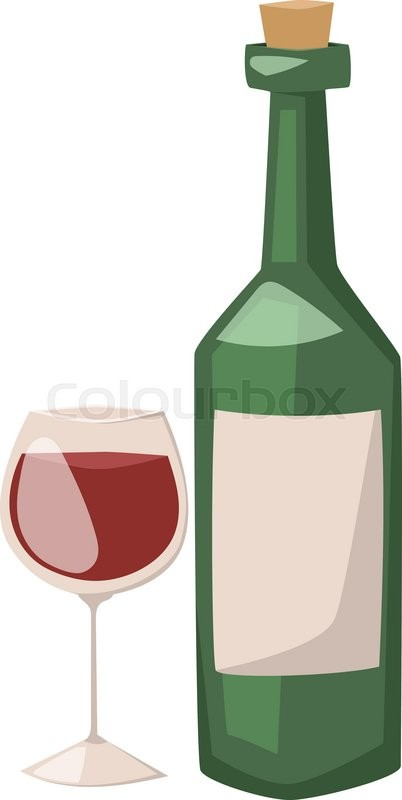 wine bottle and glass of alcohol illustration red wine in a glass