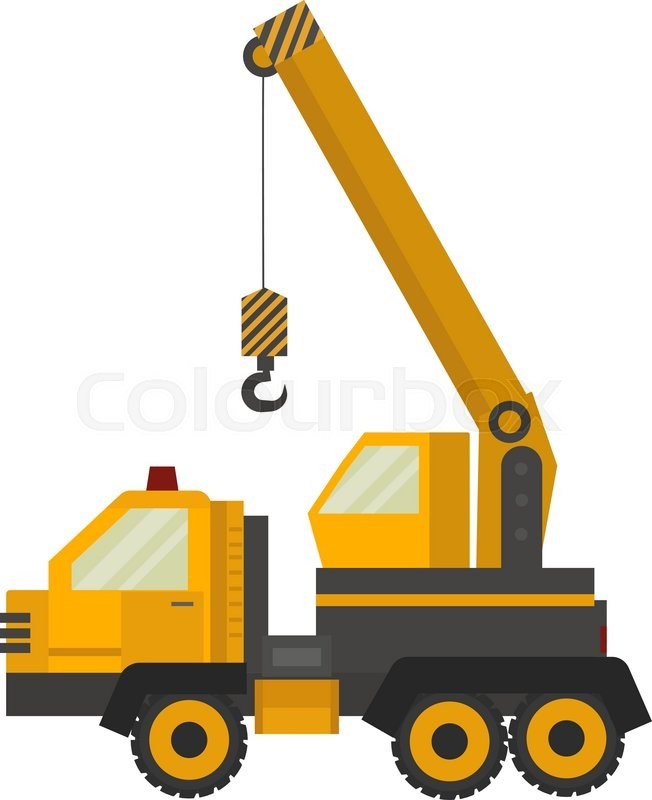 Crane Truck Vector Illustration Isolated On White Background Icon