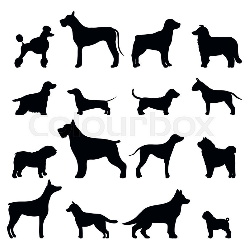 Boxer Dog Silhouette Clip Art Dog breed vector black...