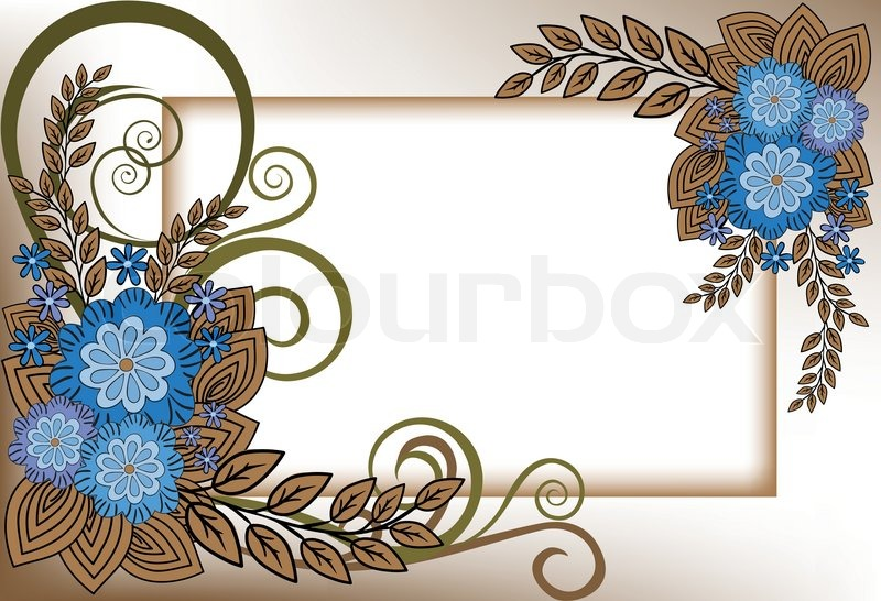 Beautiful frame of the blue flower composition | Stock Vector ...