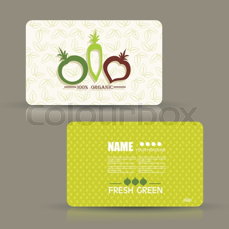 Card set eco design, organic foods shop or vegan cafe business card ...