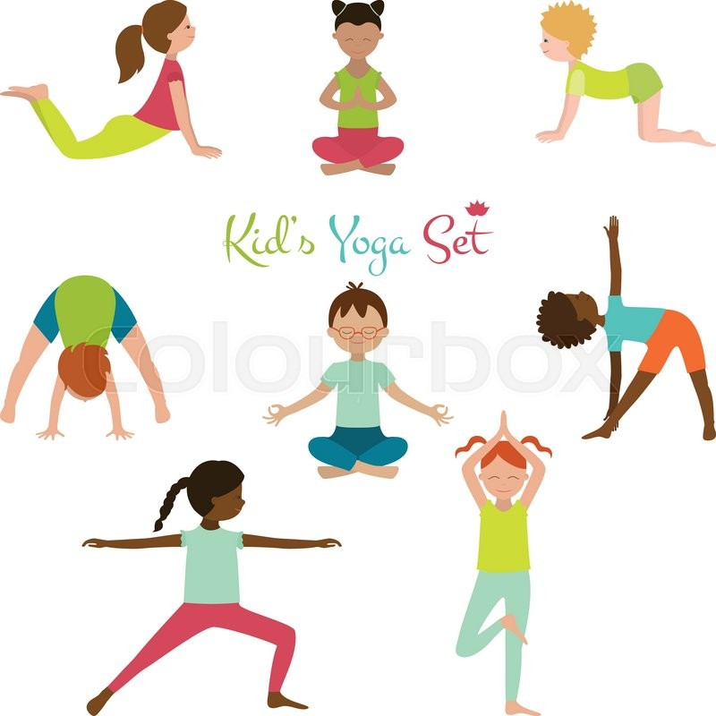 Vector Illustration Of Kid Yoga Collection Poses Cute Poster