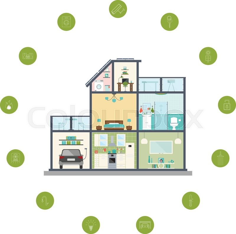 Vector Illustration Of Smart Home Infographic. Concept Of Smart House  Technology System Isolated On White Background. Design Of Eco Home With  Icons.