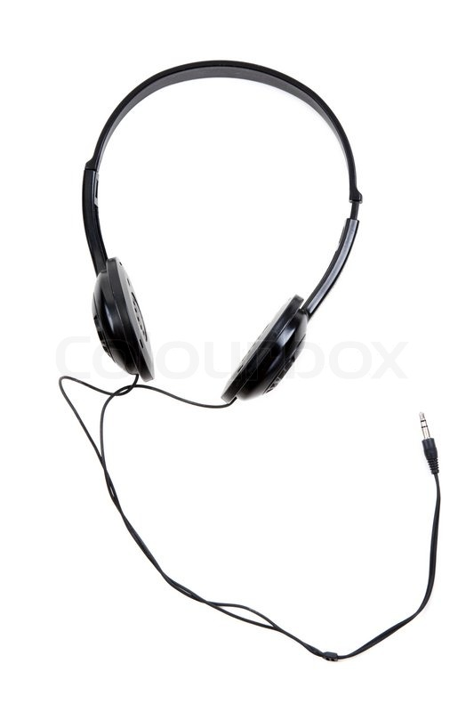 black earphones with wire and jackplug on white background