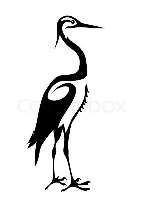 Vector silhouette crane on white ... | Stock vector ...