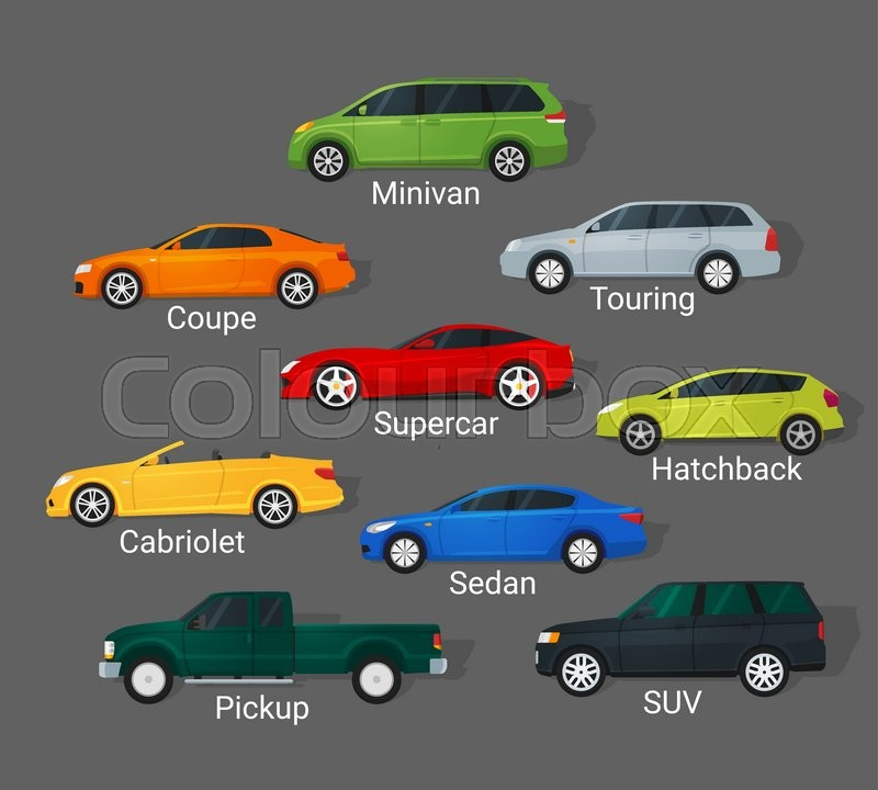 Different Car Types Icons Set In Detailed Flat Style Sedan And