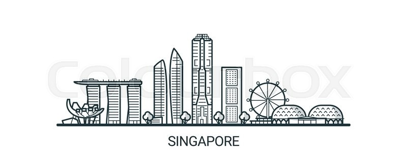 Linear Banner Of Singapore City All Buildings