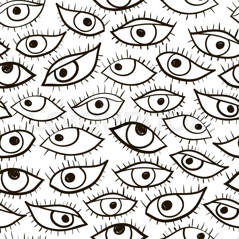 800px_COLOURBOX18131175 black and white hand drawn vector eye seamless pattern cute doodle