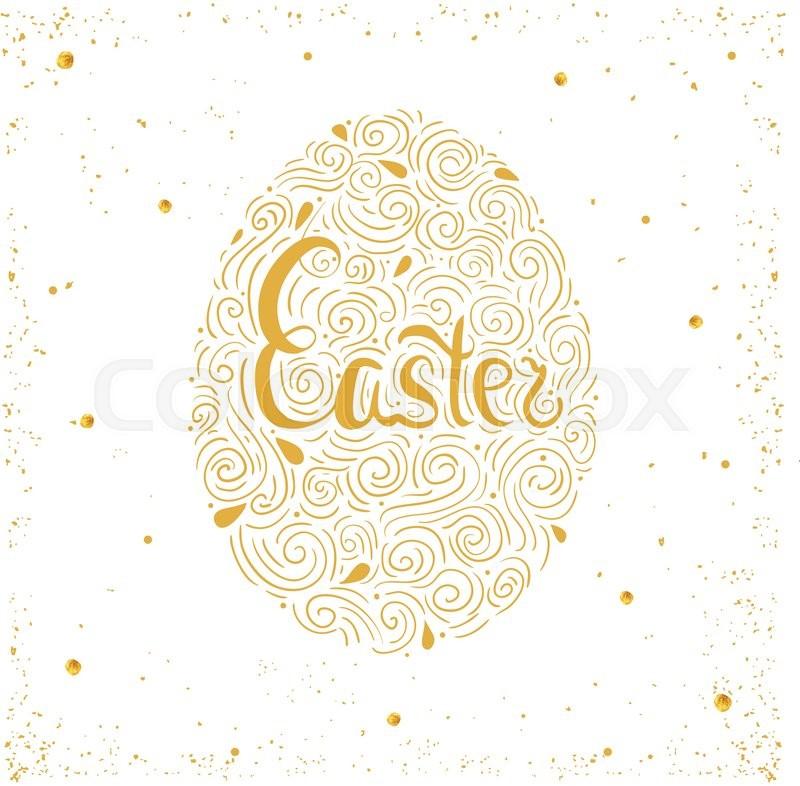Happy Easter card. Easter background. Easter sunday. Easter golden egg. Easter hand lettering. Easter Holiday. Easter Vector. Easter greeting card, vector