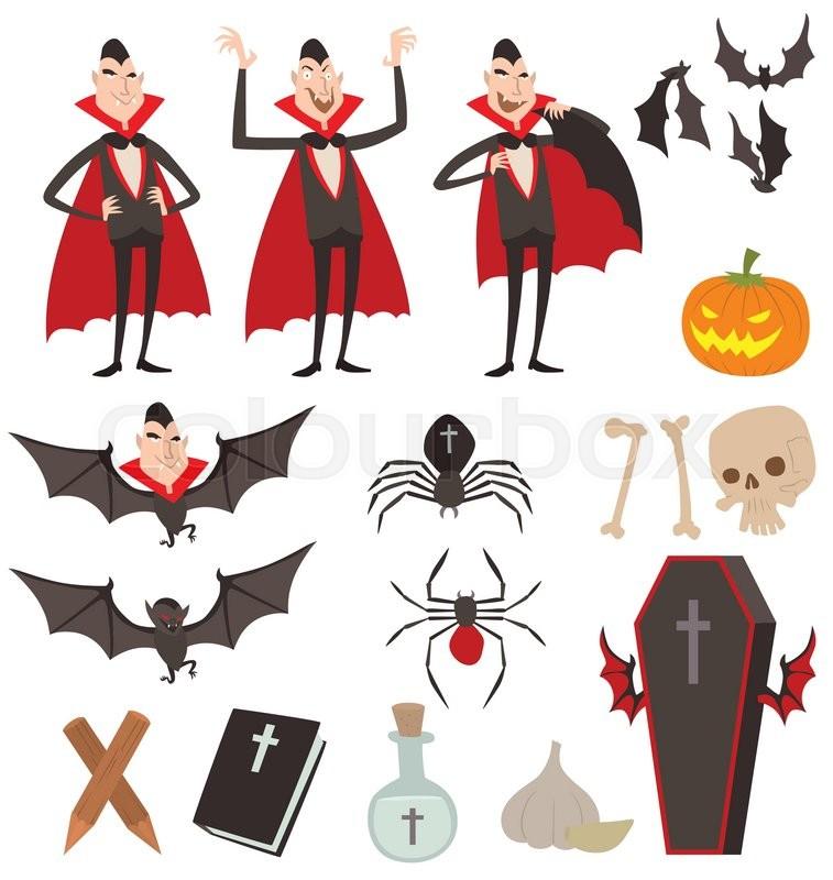 Cartoon Dracula vector symbols. Dracula vampire icons. Cartoon ...