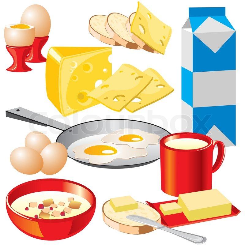 Dairy food   Stock Vector   Colourbox