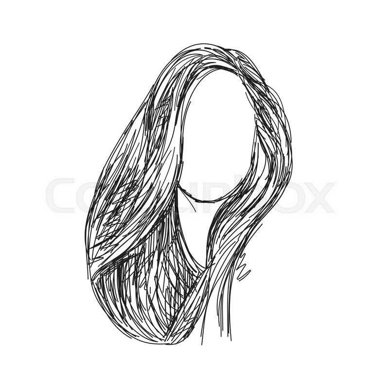 hand drawn wig long hair sketch of the line stock vector colourbox
