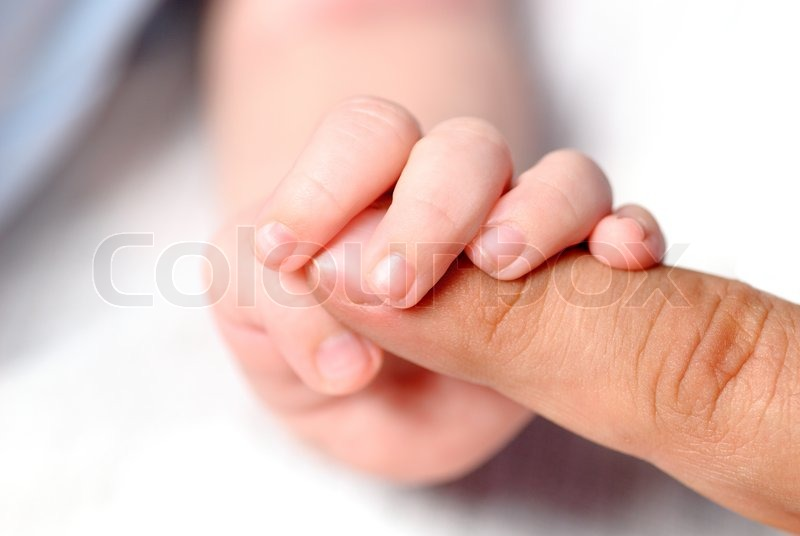 Little Hand Of Son Hold Father 39 S Finger Stock Photo