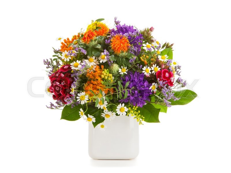 Colorful summer flower bouquet arrranged in a vase isolated on white ...