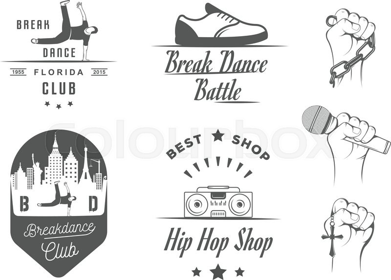 Set Of Breakdance Bboy Silhouettes In Different Poses Collection Logo And Badges Hip Hop School Academy Break Dance Battle Club Cup League