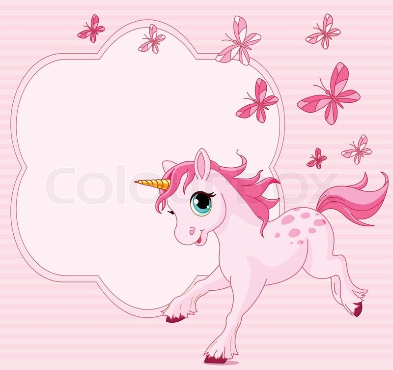 Place Card Of Running Beautiful Baby Stock Vector