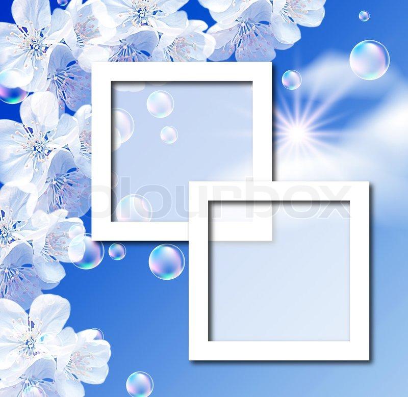 Himmel, weiße Blumen, Blasen und Bilderrahmen | Stockfoto | Colourbox