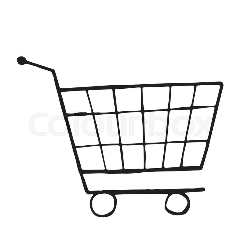 Vector Doodle Drawing Of Shopping Trolley Isolated
