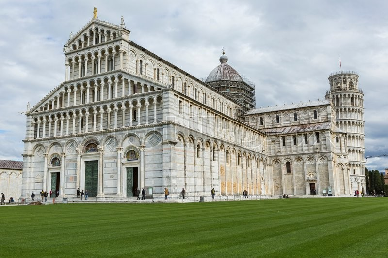 Image result for View of Leaning tower and the Basilica, Piazza dei miracoli, Pisa, Italy