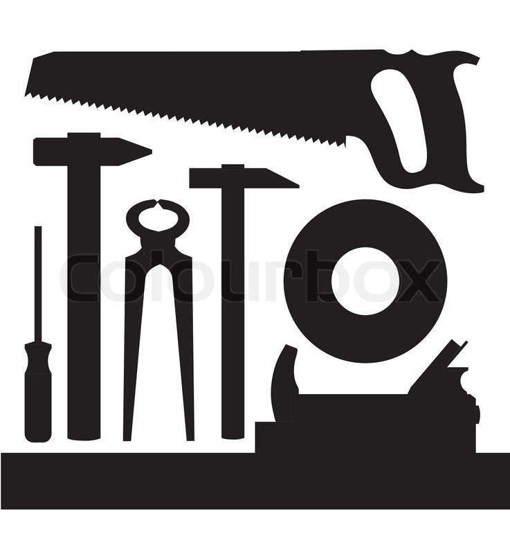 Vector images silhouettes of several kinds of tools ...