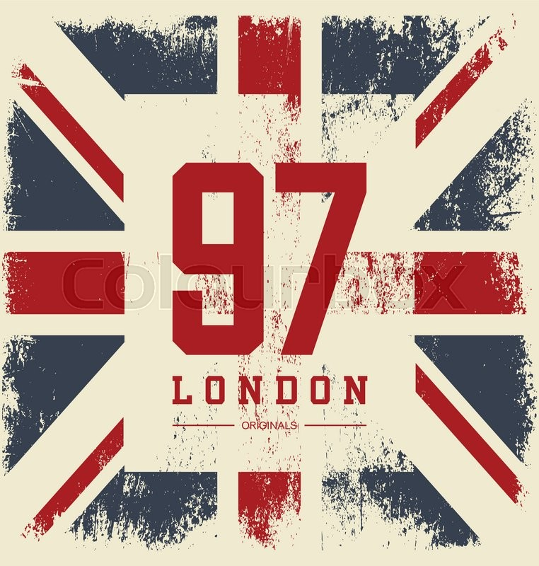 Vintage United Kingdom Flag Tee Print Vector Design Premium Quality Superior Number Logo Concept London T Shirt And Hoodie Wear Emblem
