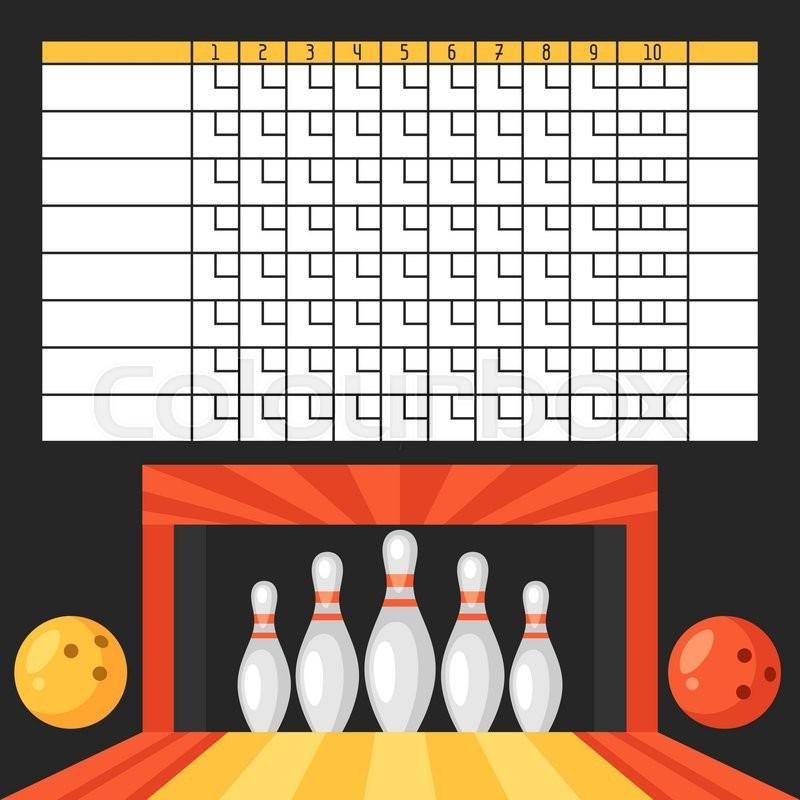 Bowling Score Sheet Blank Template Scoreboard With Game Objects