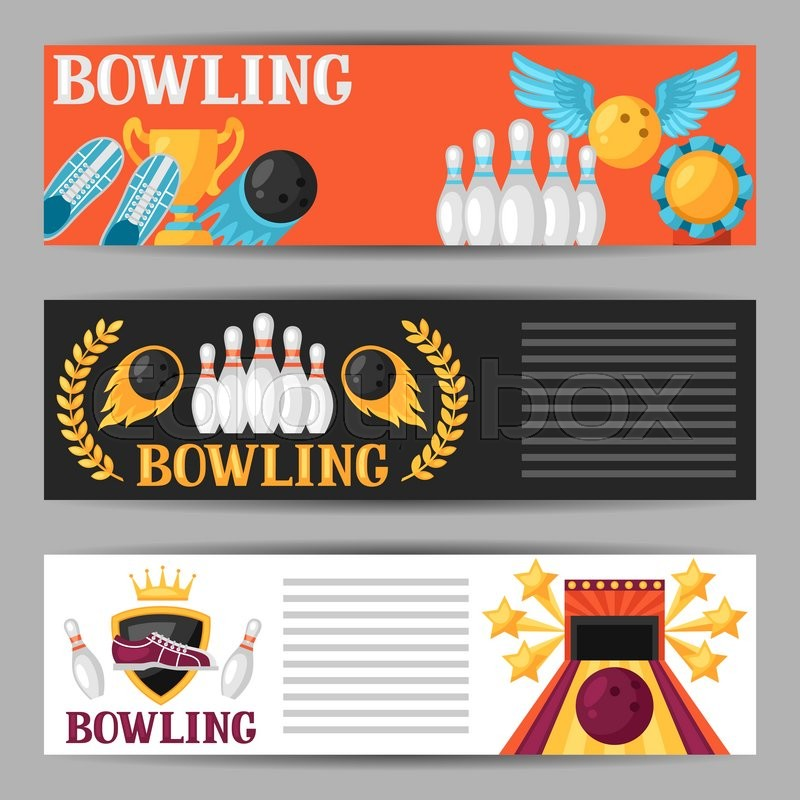 bowling banners with game objects image for advertising booklets