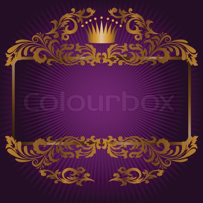 great frame of gold ornaments and a crown on a purple