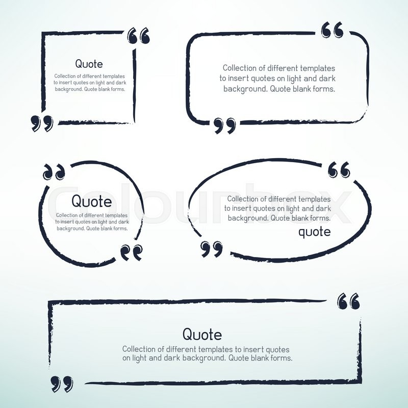 hand drawn templates for writing quotes round square oval