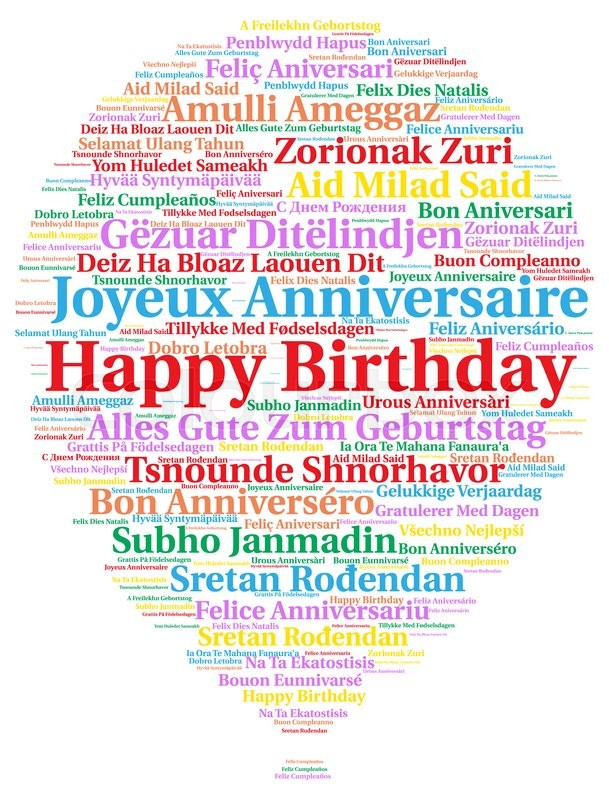 Birthday Ecards In Portuguese ~ Happy birthday in different languages stock photo colourbox