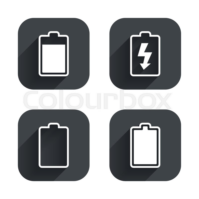 Battery Charging Icons Electricity Signs Symbols Charge Levels