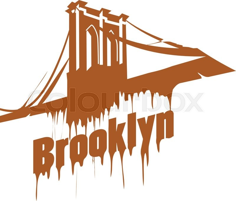 new york brooklyn bridge design emblem graffiti style stock rh colourbox com Brooklyn Bridge Tattoo Brooklyn Bridge Tattoo