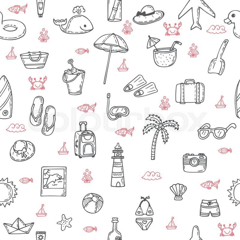 Beach Theme Card Stock: Cute Hand Drawn Summer Theme Seamless Pattern. Beach Theme