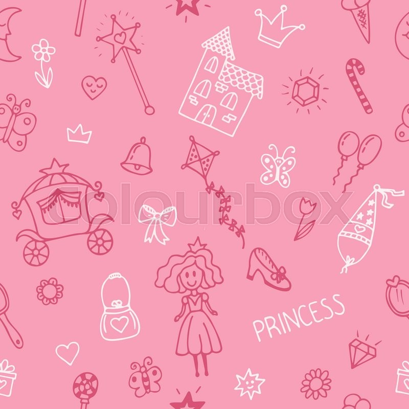 Hand drawn seamless pattern with princess girl doodle ...
