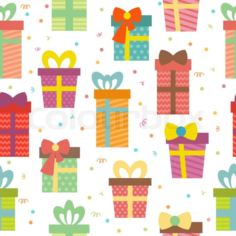 Seamless Pattern With Gift Boxes. Birthday Presents