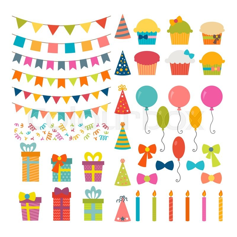 Set of birthday party design elements. Colorful balloons, flags ...
