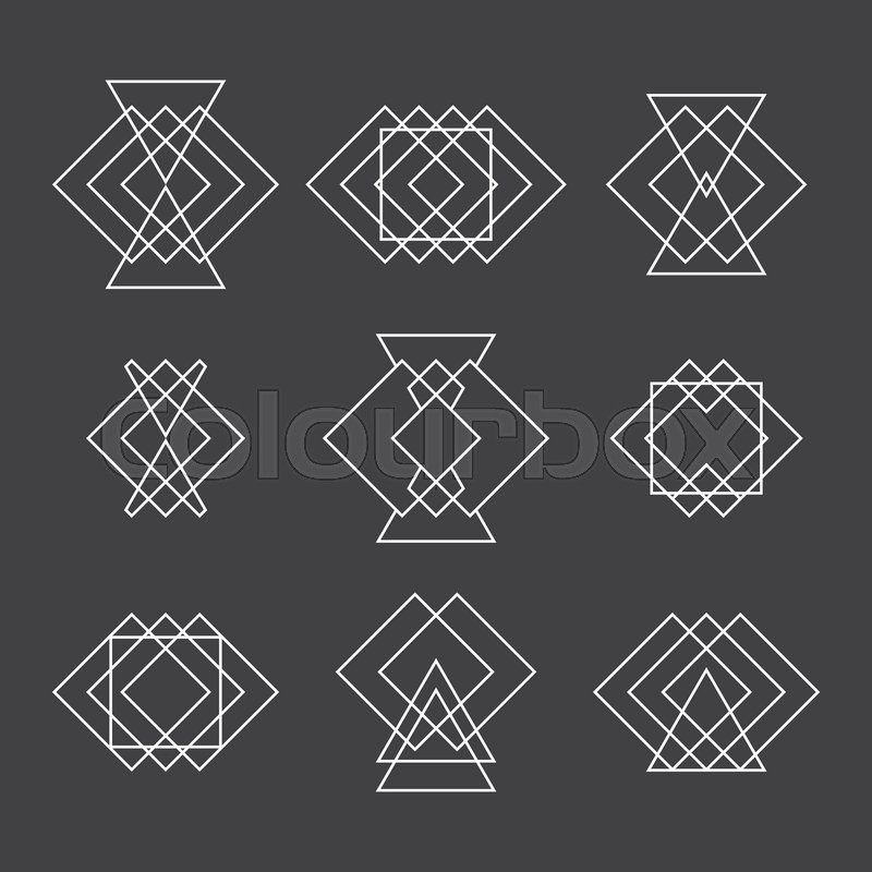 set of trendy geometric shapes hipster logotypes collection ethnic