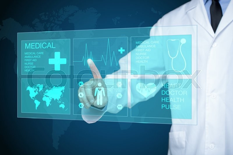Doctor touching glow heartbeat line. medical technology concept. , stock photo